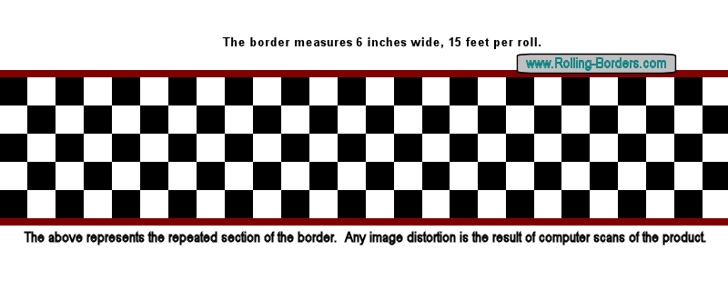 "Nascar Checkered Flag Prepasted Wall Border Roll: 6"" Nascar Wallpaper Border,Checkered Wallpaper Border"