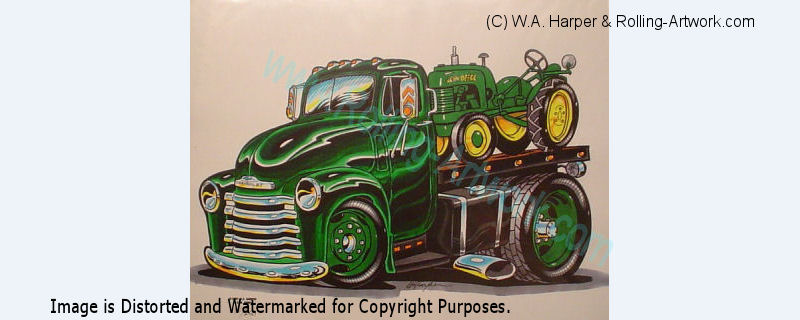 1947 chevy truck john deere tractor auto art artwork ebay